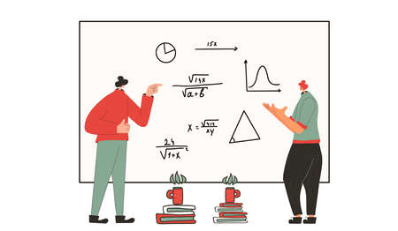Colleagues in learning process. Two scientists argue. Math. Vector flat illustration. Illusztráció