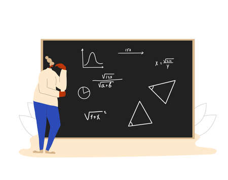 Student in learning process. Math. Vector flat illustration.