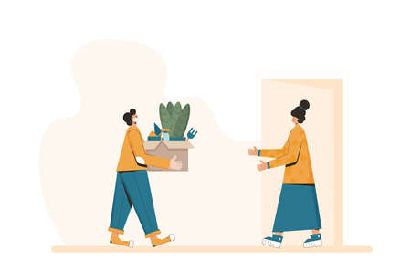 Plant delivery. Courier in a face mask with a box in his hands and customer under home door. Vector flat illustration.