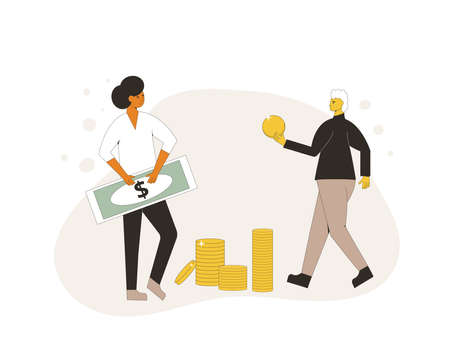 Life savings concept. Two characters with money. Line art flat vector illustration. Illusztráció