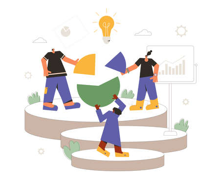 Data analytics team. Financial report concept. Business presentation preparation. Tiny people with huge circular diagram and graph. Teamwork. Vector flat illustration.