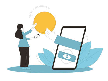 Cashback concept. Cash back. Big hand in phone screen giving money to young woman. Teenage girl get huge digital coin. Line art flat vector illustration. Illusztráció