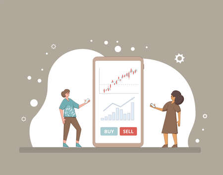 Online trading technology. Invest in the company's bonds. Minor shareholders getting money. Stock market boom. Growth in equity prices. Tiny people with huge phone. Vector flat color illustration. Illusztráció