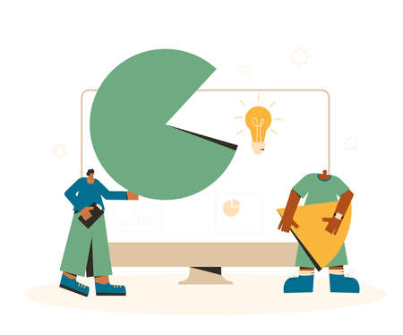 Data analytics. Financial report concept. Business presentation preparation. Tiny people with huge computer monitor with circular diagram and graph. Vector flat illustration.