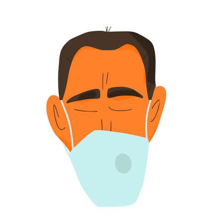 Man in white medical face mask icon. Flu protection. Patient in prevention mask. 2019-nCoV quarantine. Pandemic of coronavirus. Vector flat illustration. Illusztráció