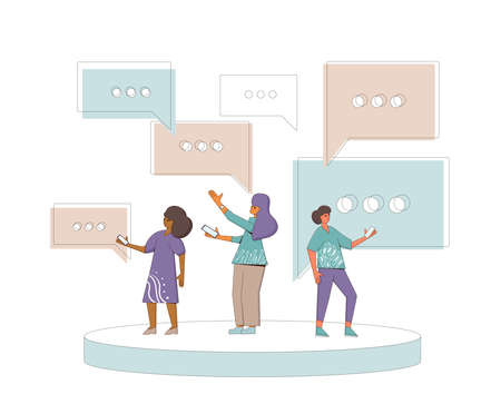 Communication concept. Three friends wearing in casual clothes standing and talking about something. Young man and woman holding phones in their hands. Line art flat vector illustration.
