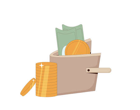 Wealth concept. Wallet with money isolated on white background. Purse with banknotes and coin. Line art vector illustration.