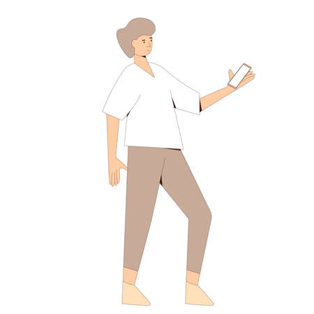 Young man in casual clothes standing with phone and reading message. Line art flat vector character isolated on white background. Illusztráció