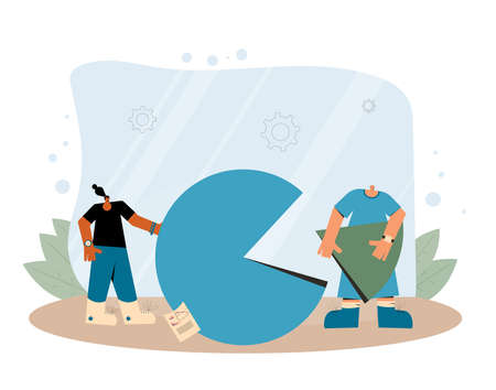 Data analytics. Financial report concept. Business presentation preparation. Tiny people with huge circular diagram and graph. Vector flat illustration.