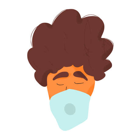 Young man in white medical face mask icon. Flu protection. Teenager in prevention mask. 2019-nCoV quarantine. Pandemic of coronavirus. Vector flat illustration. Illusztráció