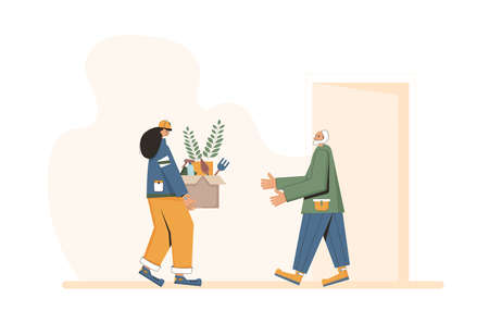 Plant delivery. Courier with a box in her hands and senior customer under home door. Vector flat illustration.