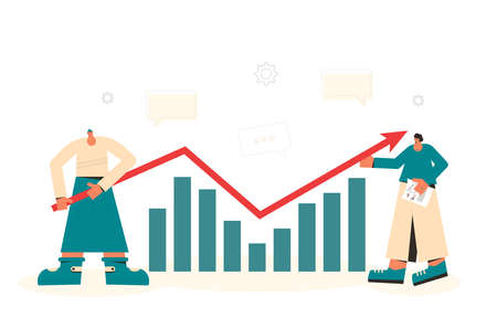 Investment analytics. Financial report concept. Business presentation preparation. Tiny people with huge graph and arrow. Vector flat illustration.