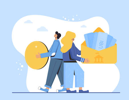 Universal basic income. Unconditional guarantee. Living stipend. Governmental public program for a periodic payment to people. Man and woman standing back to back with money. Vector flat illustration.