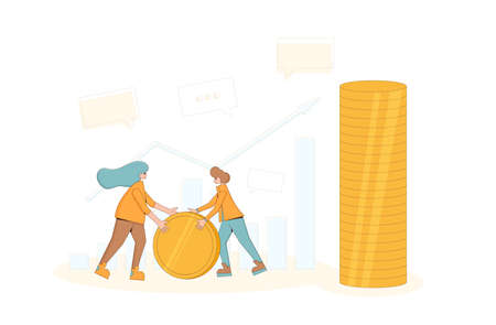 Income concept. Young man and woman with money. Two characters holding coin. Profit money or budget. Line art flat vector illustration. Stock Illustratie