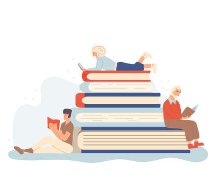 Library or education concept. Tiny characters reading a book. Vector hand drawn illustration. Stock Illustratie