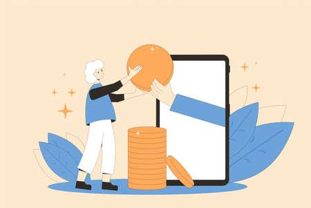 Cashback concept. Cash back. Big hand in phone screen giving money to young man. Boy get huge digital coin. Line art flat vector illustration. Stock Illustratie