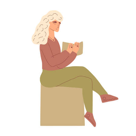 Female character reading a book. woman sitting with new bestseller. Vector hand drawn illustration. Stock Illustratie