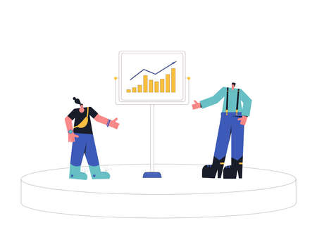 Financial literacy concept. ABC of finance. Tiny people with board talking about investment, income, money, budget for kids. Vector flat illustration.