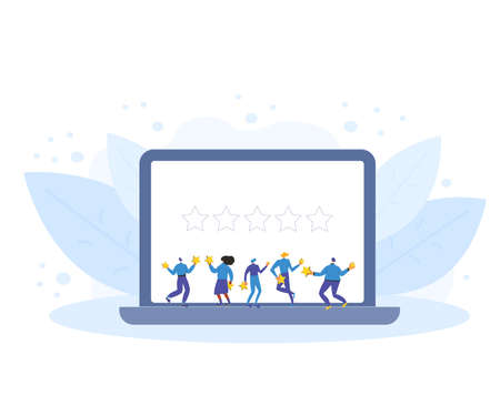 Customer review rating. Feedback concept. Happy clients standing and dancing with gold stars on laptop screen. Online store reputation. Shopping website ranking. Vector flat illustration. Stock Illustratie