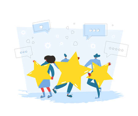 Feedback concept. Client review. People holding gold stars in their hands. Service rating. Satisfaction level. Consumer product ranking. Vector flat illustration. Illusztráció