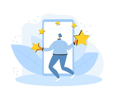 Feedback concept. Client review. Man holding stars in his hands. Teenager juggling with mark sings near huge smartphone. Service rating. Vector flat illustration. Stock Illustratie