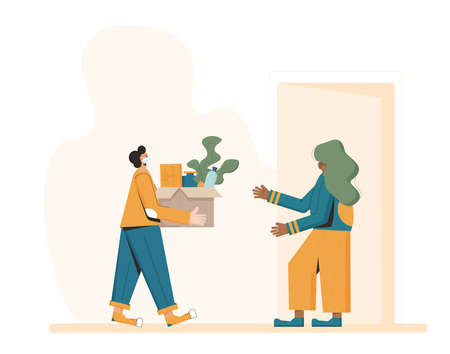 Food delivery. Courier in a face mask with a box in his hands and customer under home door. Vector flat illustration.