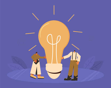 Creative idea team. Startup project concept. Find a solution together. Vector characters with creative new idea symbol.