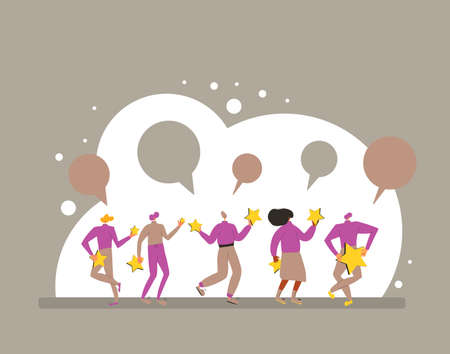 Customer review rating. Feedback concept. Happy clients standing and dancing with gold stars and comment speech bubbles. Service rating. Vector flat illustration.