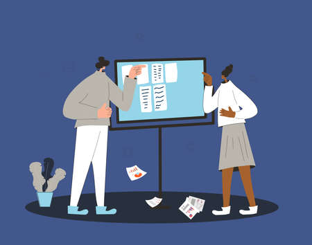 Busines quarrel. Professional conflict. Two people swear each other near board and reports papers. Vector flat illustration.