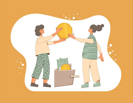 Family budget concept. Young pair holding a huge coin and putting it in wallet with coins and banknotes. Line art flat vector illustration.