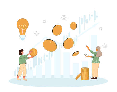 Family invest. Married young pair going to be minor shareholders. Investment idea. People with huge coins, graph. Couple thinking over pension plan. Vector illustration.