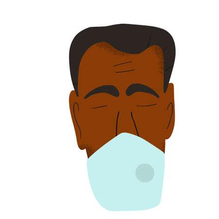 Man in white medical face mask icon. Flu protection. Patient in prevention mask. 2019-nCoV quarantine. Pandemic of coronavirus. Vector flat illustration. Stock Illustratie