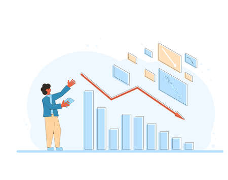 Financial crisis. Stock market crash. Invest in the bonds company's bonds fail. Sad shareholder with traders report looking at graphic of stocks plummeting. Global recession. Vector illustration.