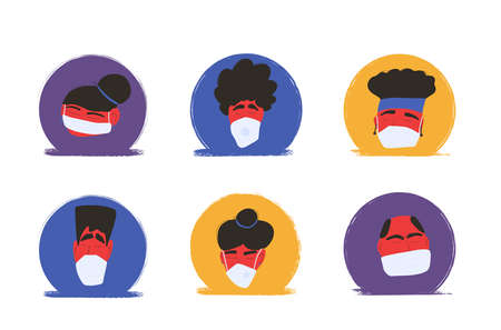 Coronavirus. Men and women in white medical face mask icons isolated. Different characters in prevention masks. Pandemic of coronavirus. Vector flat illustration.