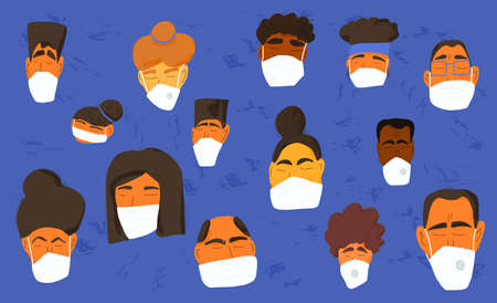 Coronavirus protection concept. Men and women in white medical face mask. Characters in prevention masks. Crowd of people protecting from virus infection. Pandemic of coronavirus. Vector illustration. Ilustracja