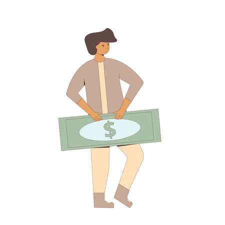 Man standing with money. Line art flat vector character with huge paper currency isolated on white background.