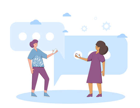 Communication concept. Two friends wearing in casual clothes standing and talking about something. Young man and woman holding phones in their hands. Line art flat vector illustration.