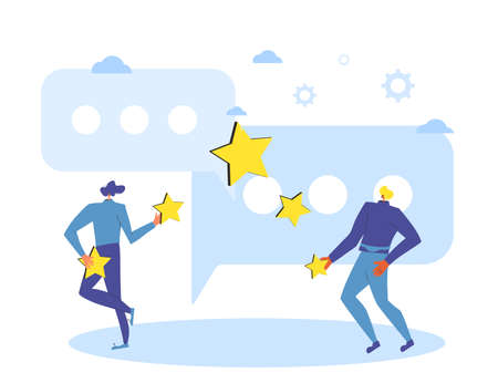 Feedback and comment concept. Client review. People holding stars in their hands. Two young men juggling with mark sings near huge comment speech bubbles. Service rating. Vector flat illustration.