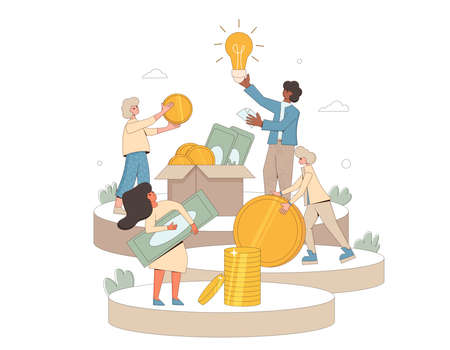 Start up investment concept. Young people raising money together. characters with huge coins and idea creator. Crowdfunding with volunteers and business team. Line art flat vector illustration.