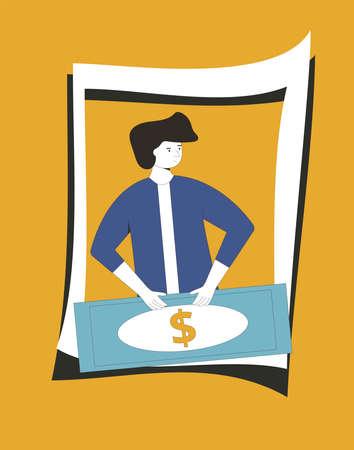 Man portrait with money. Line art flat vector character with huge paper currency. Illusztráció