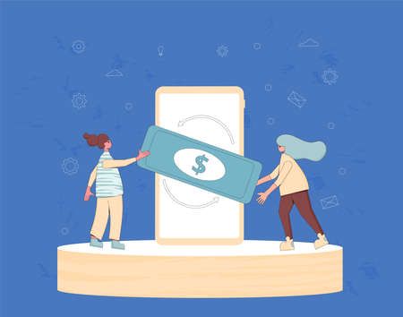 Mobile payment. Currency exchange concept. Financial services. Cryptocurrency. Digital money. Cash back. Two tiny teenage girls with huge phone and money. Line art flat vector illustration.