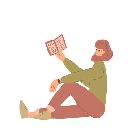 Bearded man reading a book. Vector hand drawn illustration.