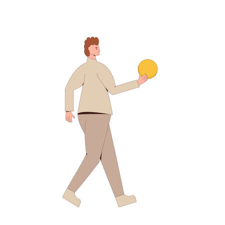 Man walking with money. Line art flat vector character with huge coin in his hand isolated on white background.