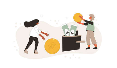 Family budget concept. Young pair holding a huge coins and putting it in wallet with coins and banknotes. Line art flat vector illustration.