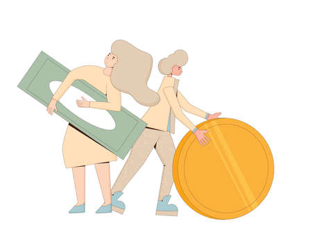 Family finance. Young man and woman standing with huge money in their hands. Line art flat vector character with huge coin isolated on white background. Illusztráció
