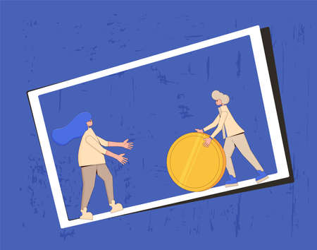 Family budget concept. Young pair rolling a huge coin each other. Line art flat vector illustration.