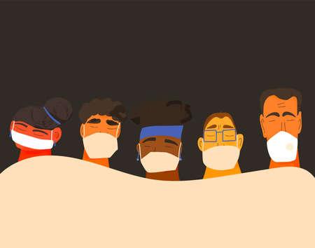 Coronavirus. Men and women in white medical face mask. Different characters in prevention masks. 2019-nCoV quarantine. Pandemic of coronavirus. Vector flat illustration.