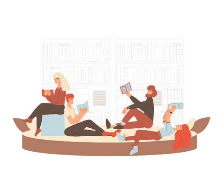Library concept. Students reading a book. Vector hand drawn illustration.