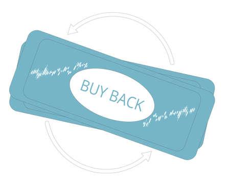 Buy back concept. Line art flat vector illustration. Illusztráció