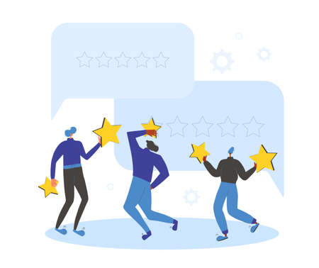 Feedback and comment concept. Client review. People holding stars in their hands. Young men and woman with mark sings near huge comment speech bubbles. Service rating. Vector flat illustration.